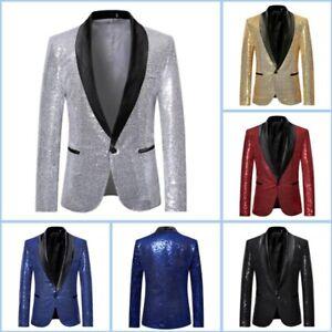 Mens Club Wear Suit Jacket Business Sequins Coat Shining Blazer Formal Party L