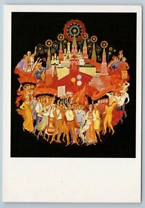 1987 SOVIET PEOPLE HONOR COSMONAUTS Space Gagrin Kremlin Palekh USSR Postcard