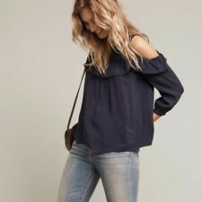 NEW Anthropologie Brearly Open Shoulder Top Blouse Blue by Maeve - US 4 (AU 8)
