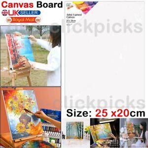 25 x 20cm Blank Artist Canvas Art Plain Framed Painting Stretched Acrylic Board