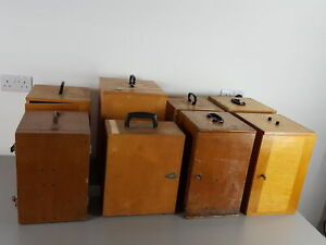8 x Vintage 1960s/70s Wooden Microscope Boxes Lab