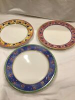 3 PC SANGO WATERCOLOR DINNER PLATES APRICOT Strawberry Blueberry