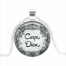 Carpe Diem Tibet silver Glass dome Necklace chain Pendant Wholesale