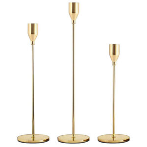 Gold Candle Holders Set of 3 for Taper Candles, Decorative Candlestick Stand