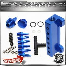 Turbo Wastegate Vacuum Intake1/8 NPT 6 Port Vacuum Manifold FOR UNIVERSAL BLUE