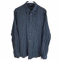 John Varvatos USA Button Front Shirt Medium Navy Blue White Black Check L/S
