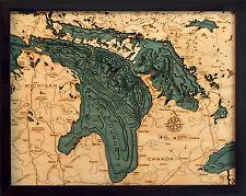 """LAKE HURON 16"""" x 20"""" New, Laser-Cut 3-Dimen Wood Chart/Lake Art Map"""
