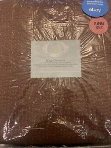 Kevin O'Brien Studio Hand Stitched Hammered Silk King Bed Coverlet Brown