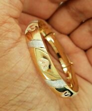 14k Yellow Gold Baby Diamond Cut Bangle 6 inches 4.7 grams Hearts Tri Color