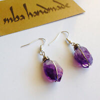 Amethyst Crystal Point German Silver Wire Wrapped Earrings Natural Gemstone