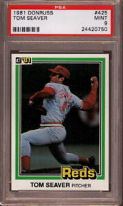 1981 DONRUSS # 425 TOM SEAVER (HALL OF FAME) CINCINNATI REDS (RARE) PSA 9 MINT