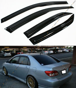 JDM WAVY 3D STYLE SMOKED WINDOW VISOR VENT SHADE FOR 2003-2008 TOYOTA COROLLA