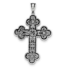 .925 Sterling Silver Antique Finish Large Filigree Budded Cross Pendant