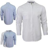 Mens Casual Shirts Brave Soul Top Granded Collar Buttonup Slim Fit Long Sleeves