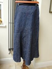 Laura Ashley Blue Floral Maxi Skirt Denim Size 8-10
