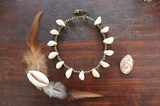 Stunning Handmade Cowrie Conch Shell & Bronze Beaded Anklet