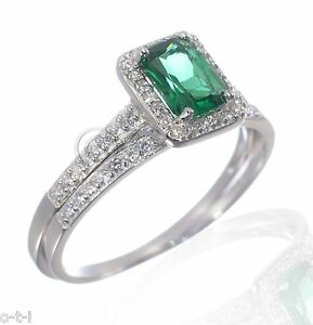 White Gold Finish Emerald Green w/ Clear CZ Engagement Silver Ring Set