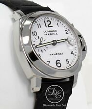 Panerai Luminor Marina 40mm PAM49 White Dial Leather Automatic Watch *MINT*