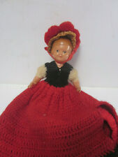 VINTAGE HARD PLASTIC GIRL DOLL HAND CROCHETED DRESS MARKED W/ S ON NECK