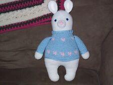 Crochet 15 in white Bunny Rabbit in blue sweater doll animal toy handmade