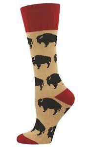 Socksmith Women Outlands Boot Socks Buffalo Bison Cushioned Novelty Footwear New