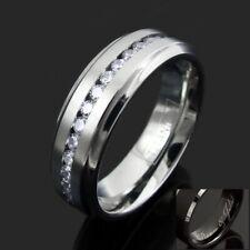 Engraved Titanium Men's 1.08 Carat CZ Eternity Wedding Band Ring