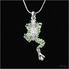 Smart Frog Toad Pendant Necklace Charm Chain Costume Jewelry Crystal Green Clear