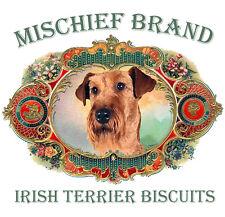 Irish Terrier Mischief Brand Biscuit Tin & Cookies