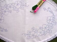 Table Centre to embroider Flowers Pansy's oval CSOO25