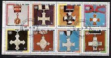 BL39 GUINEA blocco foglio 8 francobolli timbrati Medaglie d'onore di decorazione