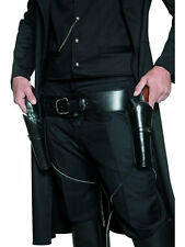 WESTERN COWBOY COSTUME DOUBLE HOLSTER ADULT MENS BLACK GUNMAN GUN BELT & HOLSTER