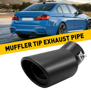 AUTO/Car Exhaust Pipe 62mm Stainless Steel Bend Muffler Tip Tail Throat Black BE