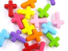 125 Candy Color Cross Crosses Acrylic Plastic Charms Beads Crafts Jewelry USA