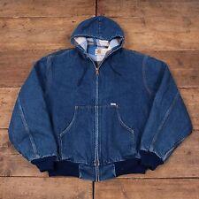 "Mens Vintage Carhartt Blanket Lined Denim Workwear Hooded Jacket XL 48"" R5124"