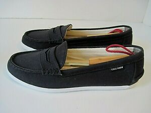 COLE HAAN 1928 Black Canvas Penny Loafers Womens Size 10 1/2 B