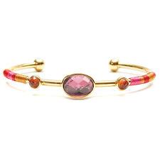 "NEW HIPANEMA Gold/Pink ""VALMY"" Gem Stone Bangle Bracelet -SALE"