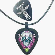GUITAR PICK Necklace - Pickbandz PICK HOLDER in Black w/ Sugar Skull Guitar Pick