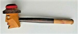 Vintage Wooden Smoking Pipe with Carved Face & Hat Pipe Bowl - Small Chip on Rim