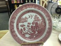 Spode-Archive Collection-Willow-1790-England-Red Transferware Plate-10.5'-LOOK