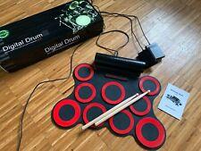Digital e-Drum, mobiles Drum-Set, elektronisches Schlagzeug mit 9 Silikon Pads