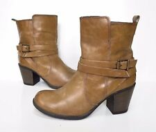 Ladies NEXT brown synthetic leather ankle Heeled ankle Boots Size 4 Exc Cond