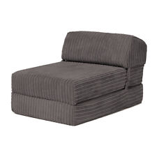 Charcoal Bjorn Jumbo Cord Single Chair Sofa Z Bed Seat Foam Fold Out Futon Guest