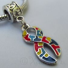 Autism Awareness Puzzle Ribbon European Charm For Large Hole Charm Bracelets
