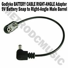 Godlyke 9V BATTERY CABLE RIGHT ANGLE Adapter Battery Snap to RA Male Barrel NEW