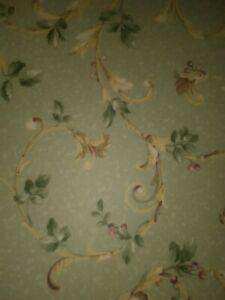 """Nearly One Full Roll 1920's Antique Wallpaper Green Floral & Botanical 21"""" wide"""