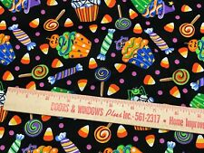Cotton Quilting Fabric Fat Quarters Black ~Cup Cake~Hollween~Cat~Candy~