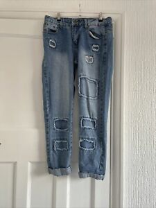 Boohoo Ripped / Patch Mom Jeans Size 10