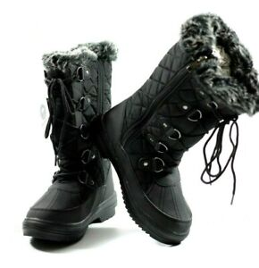 Padders Blizzard Waterproof Fur Lined front laced Black Boots UK Size 4