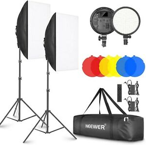 Neewer 2-Pack 2.4G LED Softbox Light Kit with remote, Stands, Color Filters, NEW
