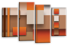Large Abstract Canvas Art Picture Beige Orange Brown Rectangles Square Multi 44""